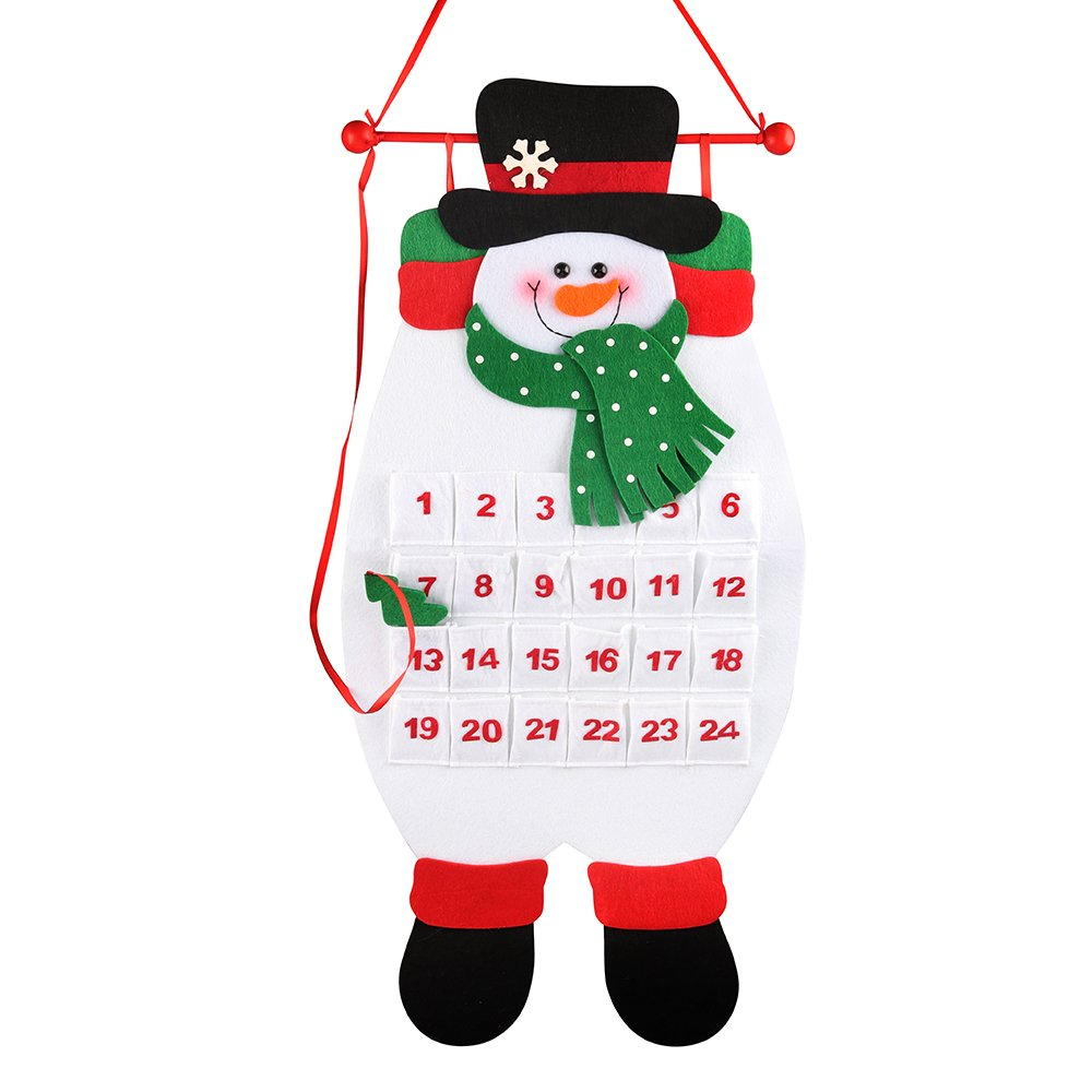 D-FantiX Christmas 3D Advent Calendar, 3-d Snowman Felt Countdown Calendars 24 Days Countdown to Christmas Calendar 2018 with Pocket Indoor Home Wall Hanging Christmas Decorations White AM-HG211