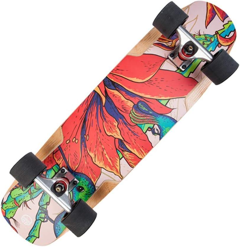 スケートボード アクションアクティビティダブルワープタイプクルーズボードトラベルブラシストリートロードボードプロフェッショナルボード80cmレッド/モダンスケートボード (Color : 赤, Size : 80*20*10cm) 赤 80*20*10cm