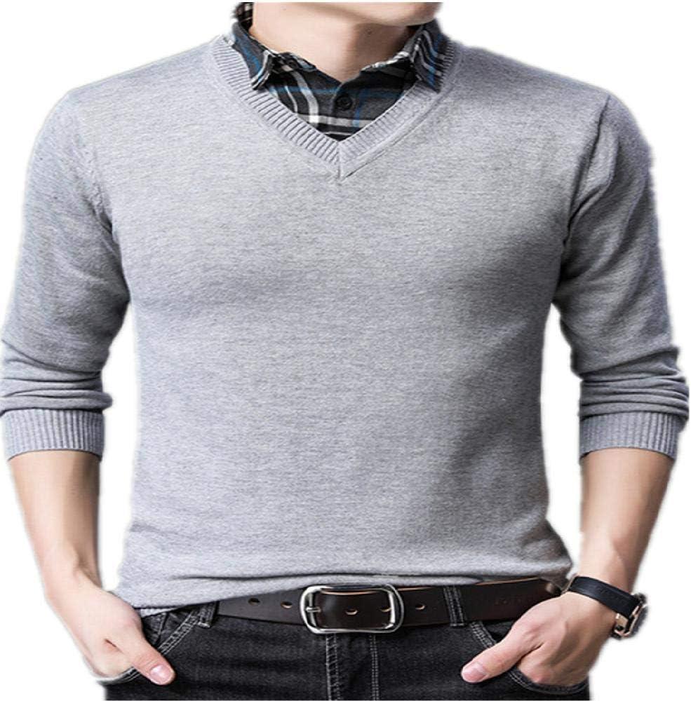 NHFGF Chandail - Jersey de Punto para Hombre, Falso y Falso, Cuello Alto, Sudadera, Camisa, Cuello y Ropa Pulls Gris XXL: Amazon.es: Ropa y accesorios