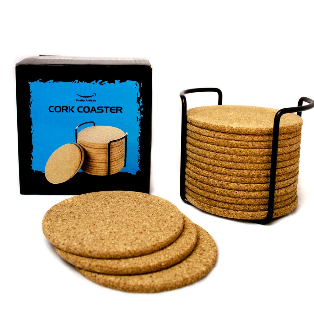 Natural Cork Coasters for Drinks - 16pc Set with