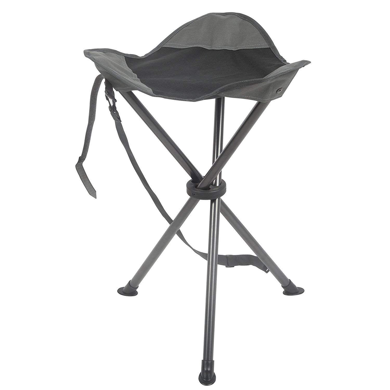 PORTAL Folding Tripod Tall Camping Stool, Grey