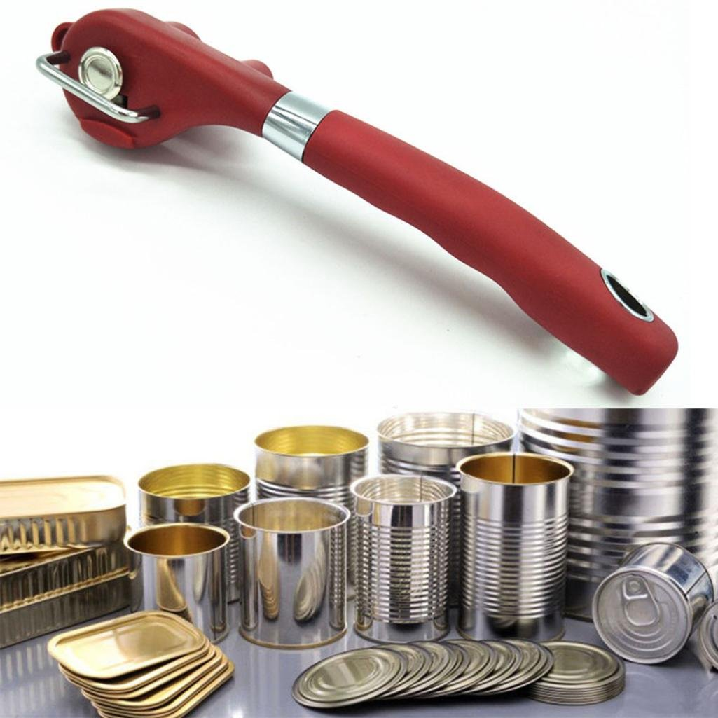 Iuhan New Multifunction Stainless Steel Safety Side Cut Manual Can Tin Opener (Red)