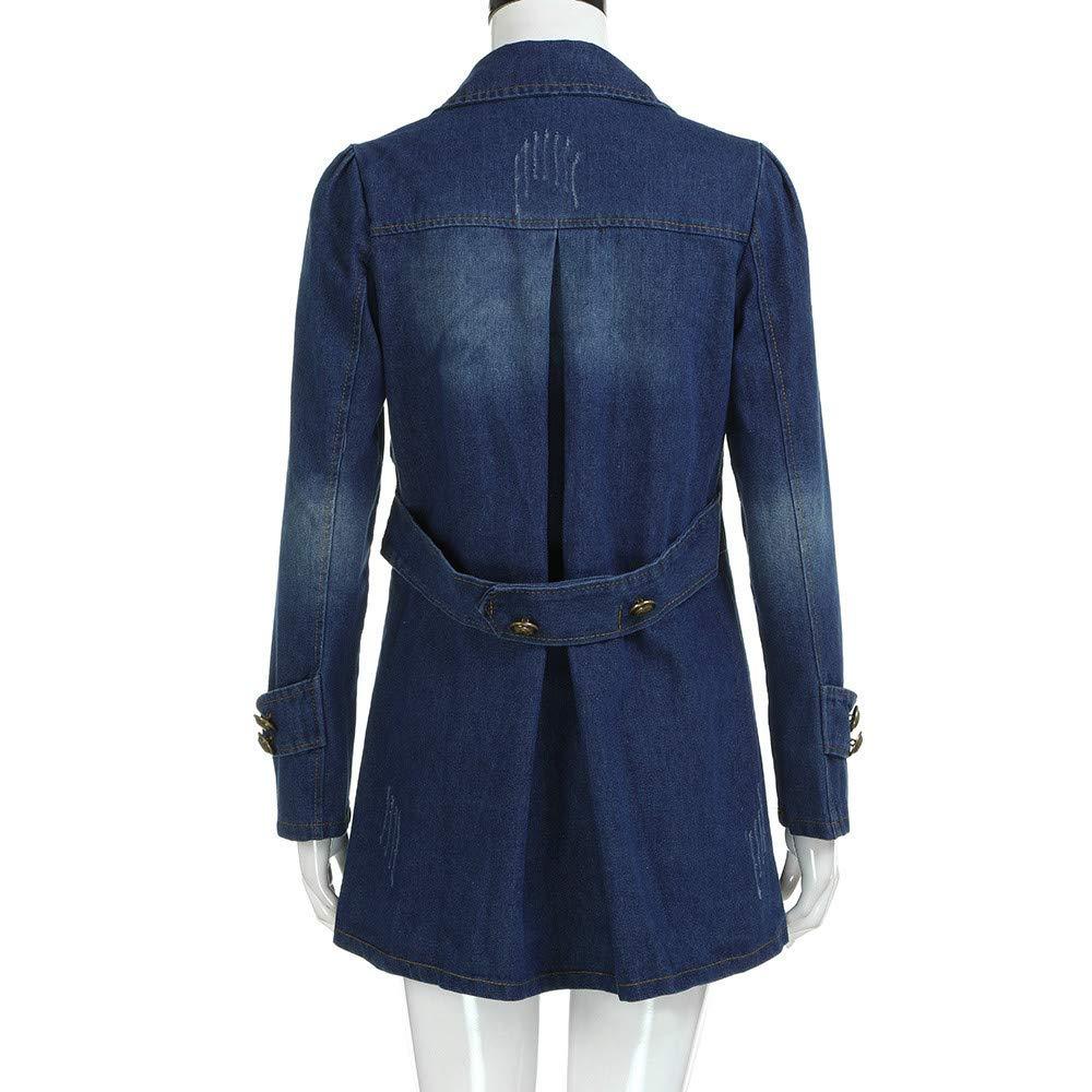 Kulywon Women Fashion Casual Long Sleeve Denim Jacket Long Jean Coat Outwear Overcoat by Kulywon (Image #4)