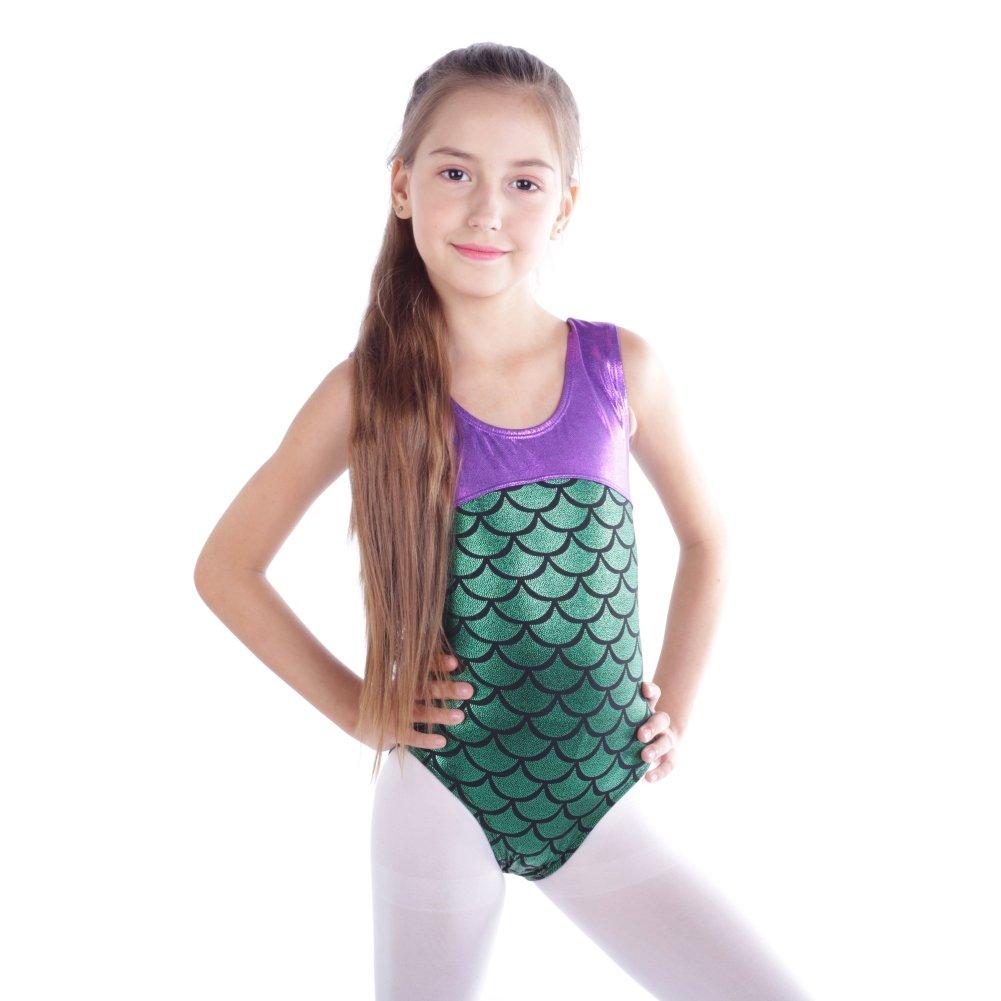 Loveble Cute Rhythmic Gymnastics Dance Leotards Metallic Fish Scales Print Romantic for Kids Girls Little Girls