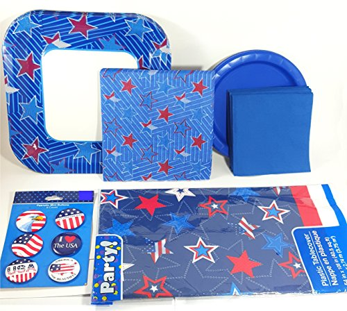 Patriotic Party Supplies Pack Stars and Stripes - Plates, Napkins, Tablecover and Patriotic Buttons ( Serves 14 Guests)