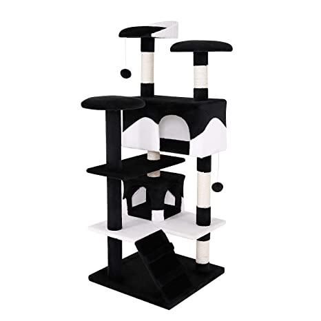 Dibea KB00308 Árbol Rascador para Gatos, Altura 130 Cm, Escalador Grande Color Negro y