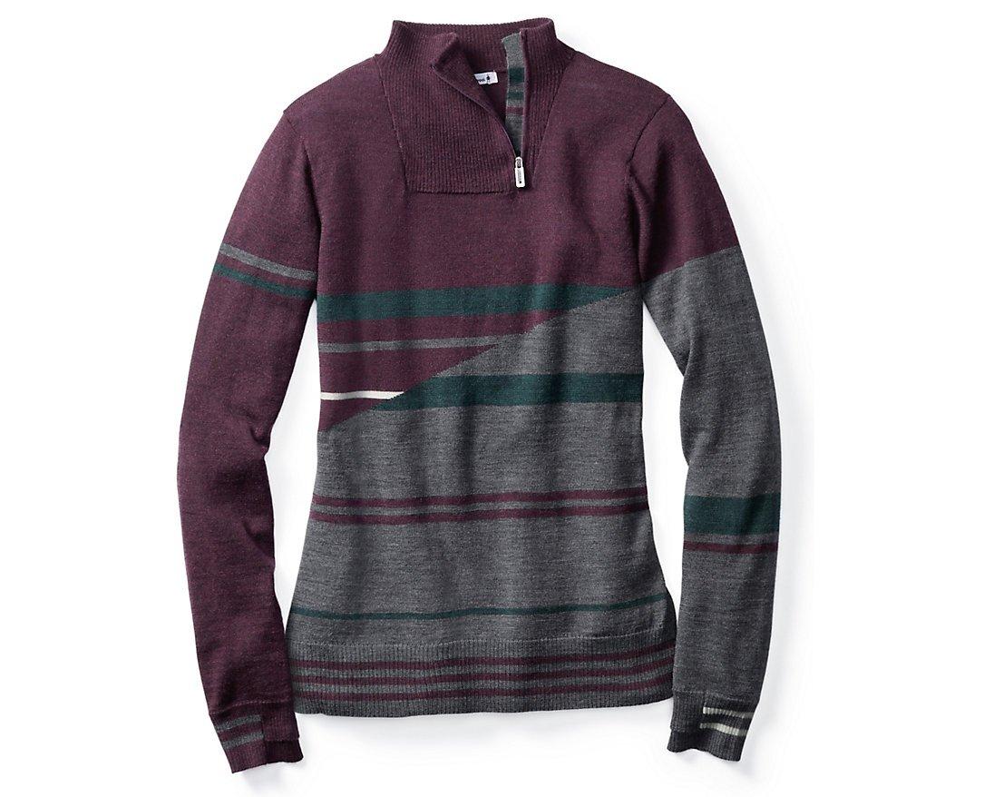 Smartwool Women's Isto Sport Stripe Sweater (Bordeaux Heather) Large