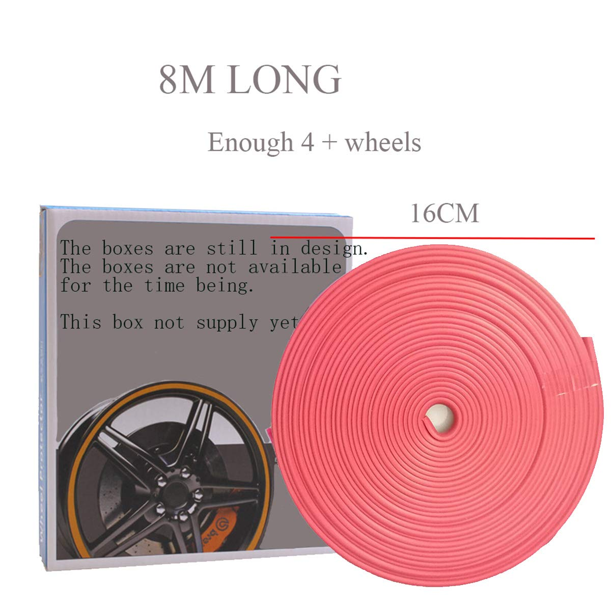 Pink 8M Wheel Hub Anti-Rubbing Strip Wheel Accessory Rim Blade Wheel Hub Interior Moulding Trim Tape Stripes Anti-Collision Bar of Tire Protection Ring