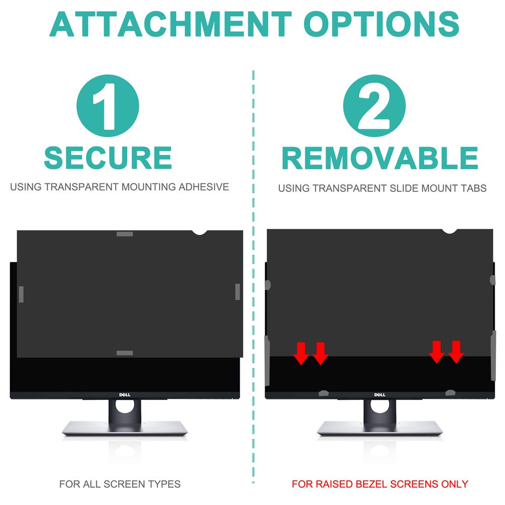 YAYAO 19 inch Privacy Screen Protector, Anti-Spy/Glare Filter Compatible 19'' Widescreen Computer Monitor (16:10 Aspect Ratio, WxH: 408mm x 255mm) by Yayao (Image #6)