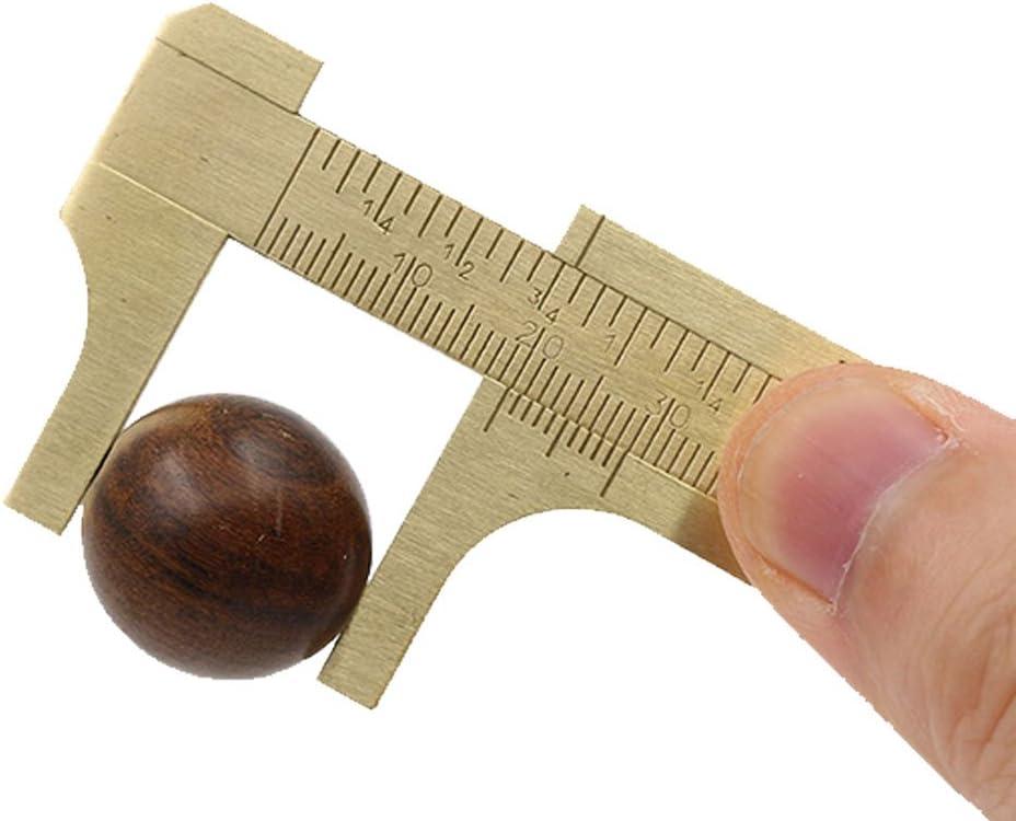 Mini Brass Sliding 80mm Gauge Vernier Bead Wire Jewelry Measuring Pocket Caliper