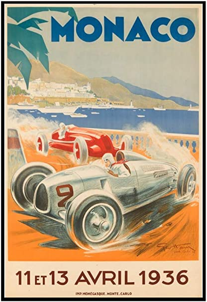 "1936 Quality vintage print Poster Art Classic Motor Sports Monaco GP 36/"" x 24/"""