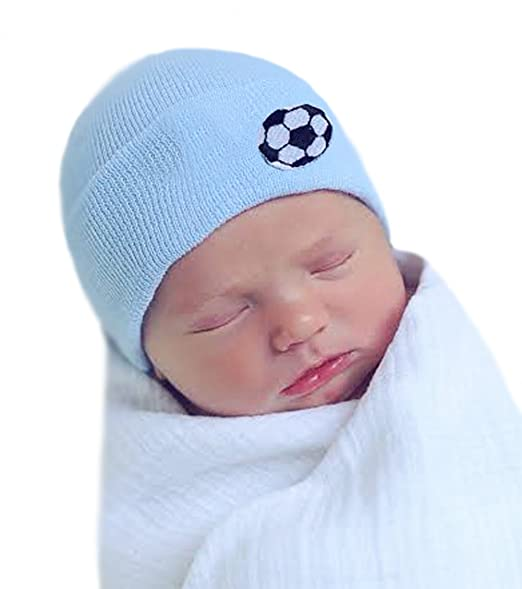 Image Unavailable. Image not available for. Color  Melondipity s Newborn  Boy Soccer Ball Hospital Hat ... 46d5c0c78ce0