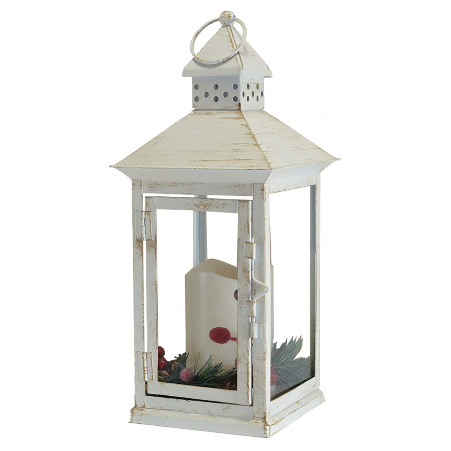 Mark Feldstein Holly Berry and Pine Look White Distressed 13.5 Inch Metal Decorative Hanging Lantern