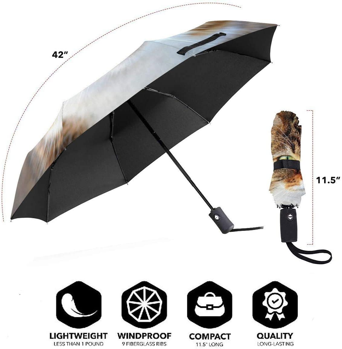 WUHAN1 Natural Remedies Cystitis Cats Automatic Tri-fold Umbrella Outer Print One Size