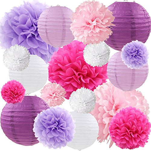 Purple and Pink Tissue Paper Pom Poms Flowers Paper Lanterns Decorative Vintage Floral Wedding Bridal Shower Baby Girl Baby Shower Decorations Supplies, 18ct -
