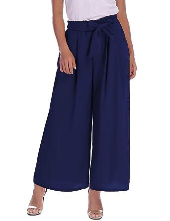 nuovo concetto 07ae0 79d90 Abollria Pantaloni Donna Eleganti a Palazzo di Vita Alta con Cintura  Pantaloni Larghi e Leggeri per Primavera Estate Taglie Forti e Comodi