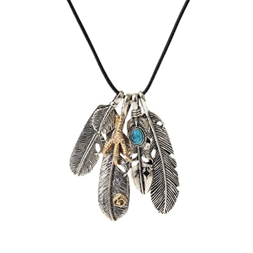 Women Men/'s Cool Turquoise Feather Pendant Braided Rope Necklace Jewelry