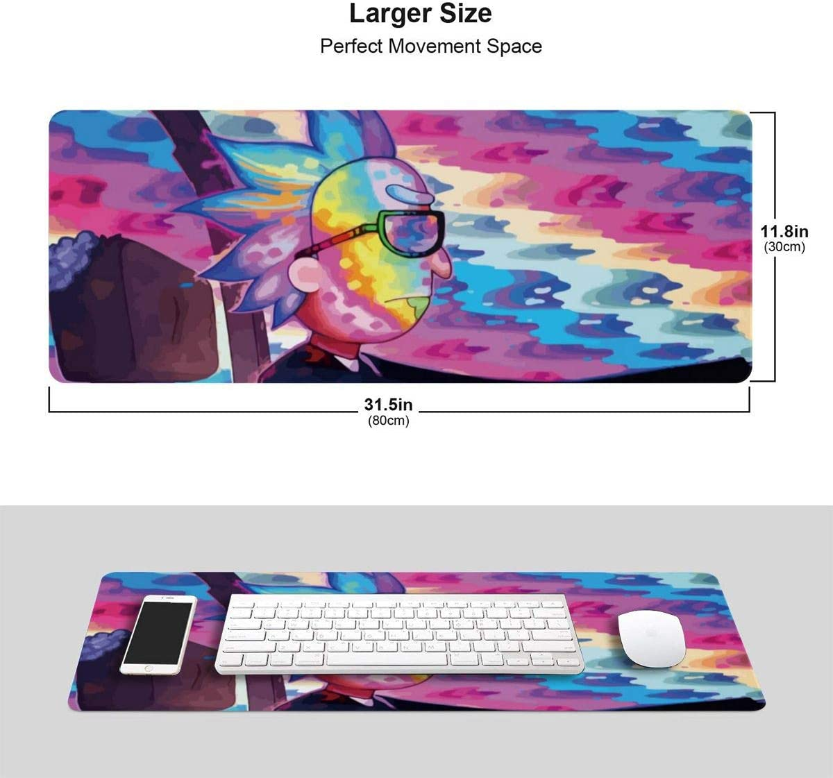 Morty with Stitched Edges Gaming Mouse Mat Non-Slip Rubber Base Mousepad for Laptop,Computer,PC,Keyboard,11.8x23.6 Large Mouse Pad for Rick