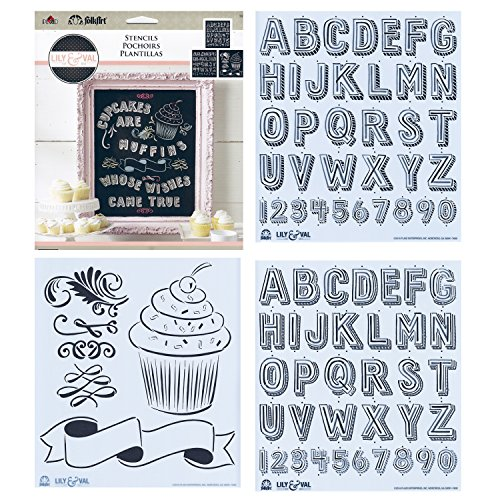 FolkArt 13250 Cupcakes Lily & Val Stencil Pack]()