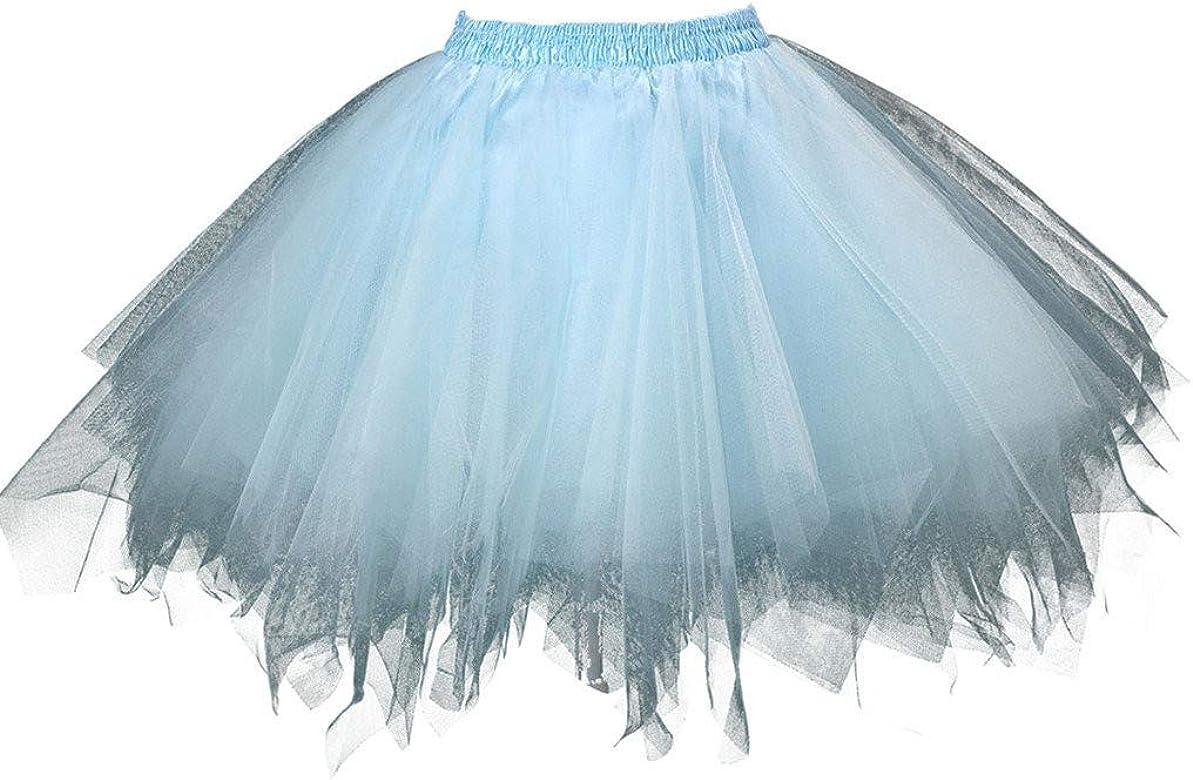 FRAUIT Falda Tul Mujer Mini Falda de Ballet Tutú Tul Falda Enaguas ...
