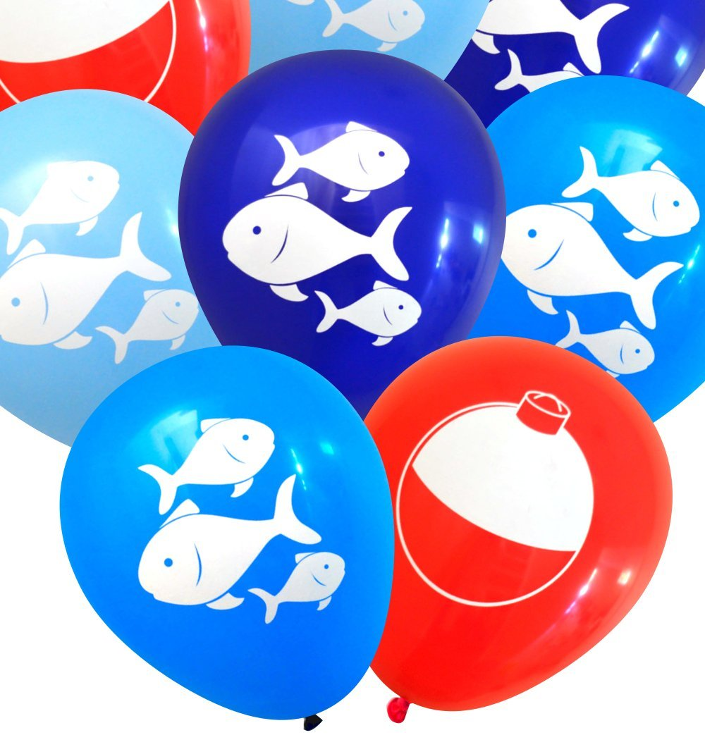 Fish and Bobber Balloons Fishing Party Decorations by Nerdy Words (Red, Navy, Dark Blue, Light Blue)