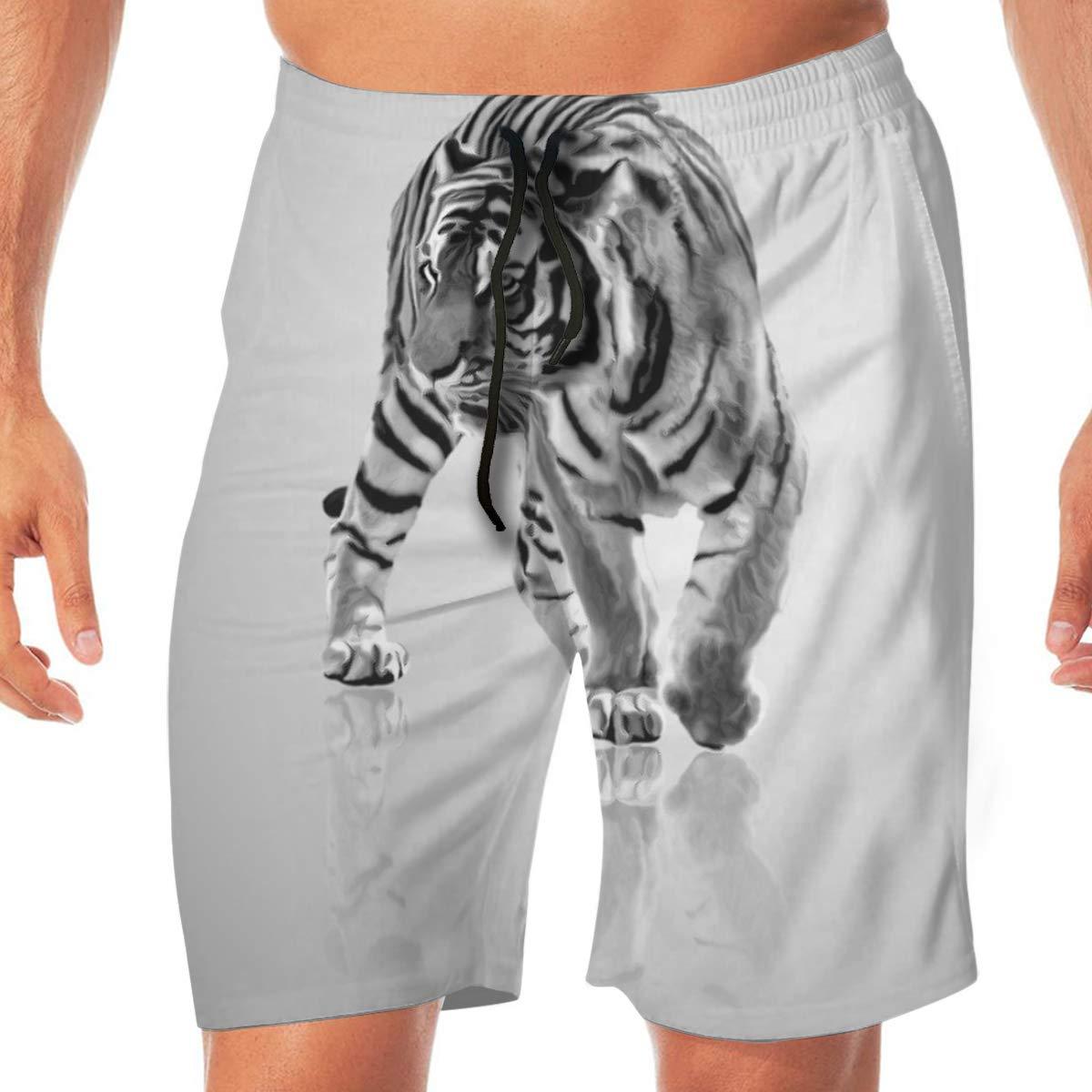 White Tiger Funny Summer Quick-Drying Swim Trunks Beach Shorts Cargo Shorts