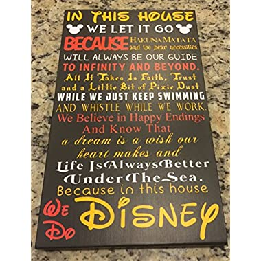 In This House We Do Disney  Fairy tale Black background wood sign 9x15