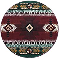 Champion Rugs Burgundy with Green Woven Native American Carpet Area Rug (7 Feet X 7 Feet Round)
