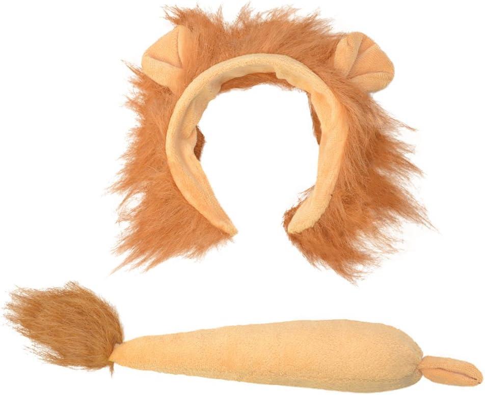Bristol Novelty- Juego de disfraz de orejas de león y cola, Color marrón, talla única (DS158)