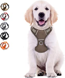 WALKTOFINE Dog Harness No Pull Reflective, Comfortable Harness with Handle,Fully Adjustable Pet Leash Vest for Small Medium Large Dog Breed Car Seat Harness