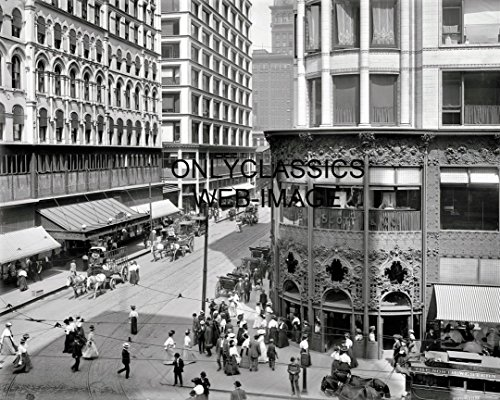 OnlyClassics 1907 Chicago Downtown Madison & State Street Photo Victorian Dress Old ()