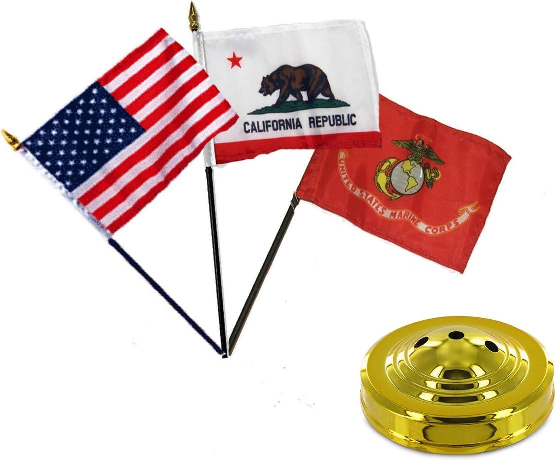 AES State of Oregon 4x6 Flag Desk Set Table Wood Stick Staff Black Base