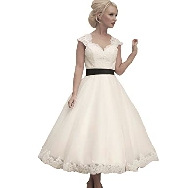 dressvip White Lace Sweetheart Cap Sleeves Bow Belt Open Back A Line Prom Gowns (8