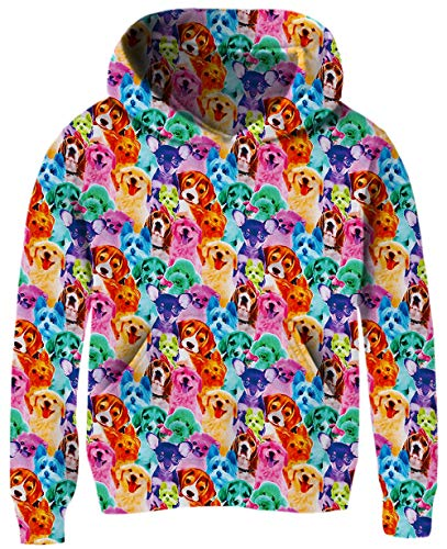 Puppy Kids Sweatshirt - Daughter's Lovely Christmas Pullover Students Fall Drawstring Hoodies Red Pink Blue Puppy Dogs Printing Kid's Boy Sweater Grey Animal Graphics Unisex Sportswear with Kangaroo Pockets for 7-8 Years Old