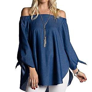 PRESELF Sexy Women Off Shoulder Denim Bow Long Sleeve Shirt Split Summer Blouse Tops womens blue medium