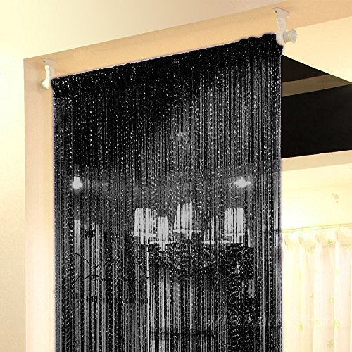 Topixdeals Rare Flat Silver Ribbon Door String Curtain Thread Fringe Window Panel Room Divider Cute Strip Tassel Party Events (1 Pack, Black)