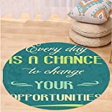 VROSELV Custom carpetLifestyle Every Day is a Chance to Change Your Opportunities Quote Retro Poster Print for Bedroom Living Room Dorm Jade Green Tan Round 72 inches