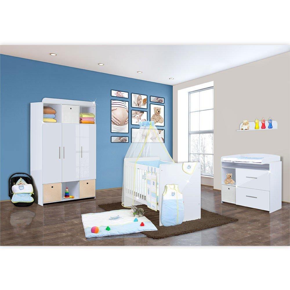 Babyzimmer Mexx in Weiss Hochglanz 11 tlg. mit 3 türigem Kl. + Textilset Eule in Blau
