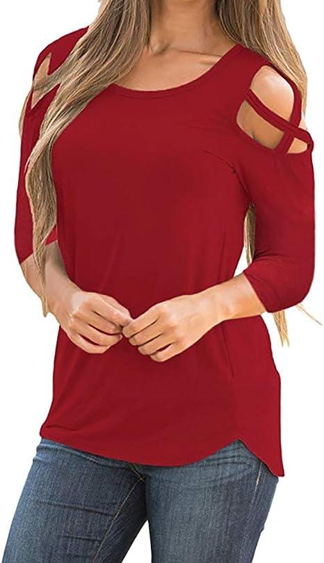 Amazon.com: Blusa de manga 3/4 para mujer con hombros ...
