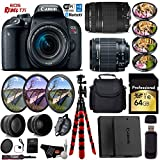 Canon EOS Rebel T7i DSLR Camera 18-55mm is STM Lens & 75-300mm III Lens + UV FLD CPL Filter Kit + 4 PC Macro Kit + Wide Angle & Telephoto Lens + Case + Tripod + Card Reader- International Version For Sale