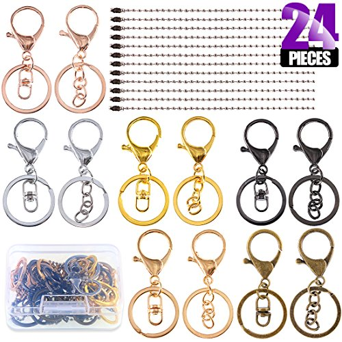Swpeet 24Pcs Jewelry Making Kit, Including 12Pcs Assorted Colors Lobster Clasps Keychain with 12Pcs Ball Chain Necklace, Swivel Lanyards Snap Hooks Lobster Clasps for Jewelry ()