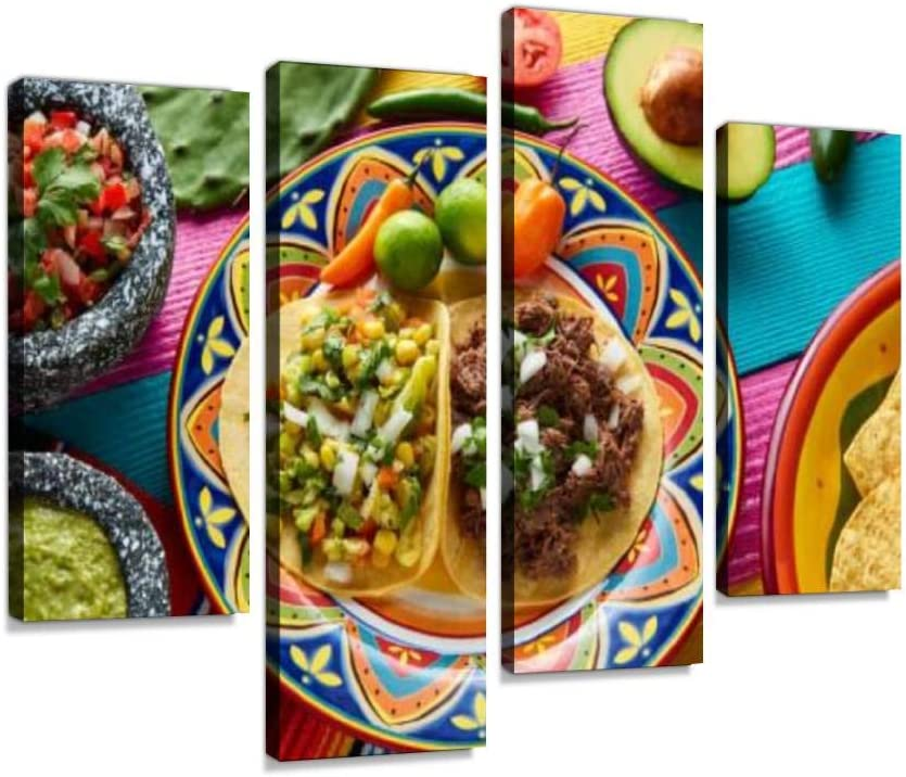Canvas Wall Art Painting Pictures Mexican platillo Tacos barbacoa and Vegetarian Modern Artwork Framed Posters for Living Room Ready to Hang Home Decor 4PANEL