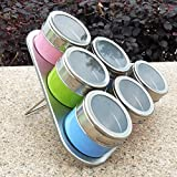 Mydio 6 Jars Stainless Steel Triangle Magnetic Multipurpose Spice Rack,Perfect Kitchen Storage,Random color