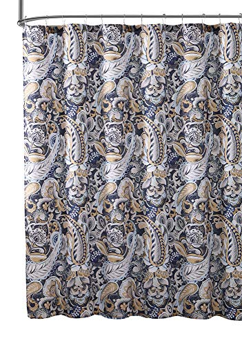 Elegant Navy Blue Beige Fabric Shower Curtain: Large Floral Paisley Print Design, 72