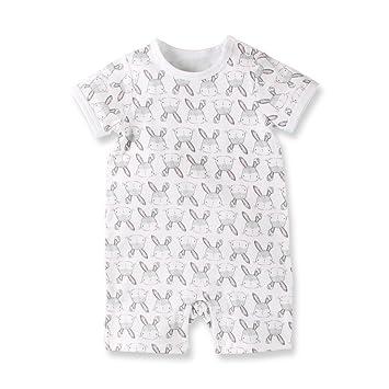 56f90ef4036c2 Baby Nest 夏 ベビー服 半袖ロンパース 女の子 男の子 肩ボタン フルプリント コットン ウサギ 9-