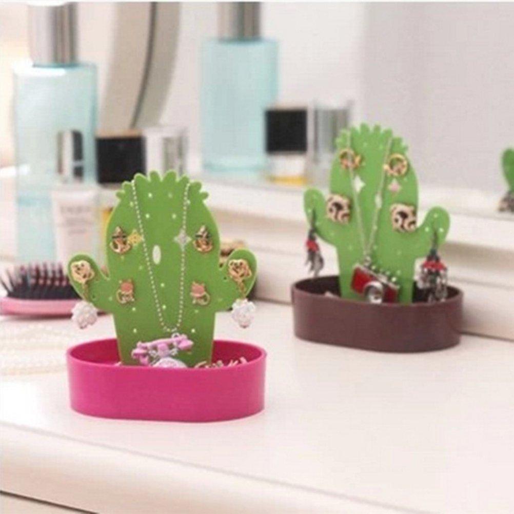 LUOEM Bijoux Stand Affichage Boucle Doreille Collier Titulaire Cactus En Forme de Bijoux Bo/îte Boucles Doreilles Cintres Caf/é