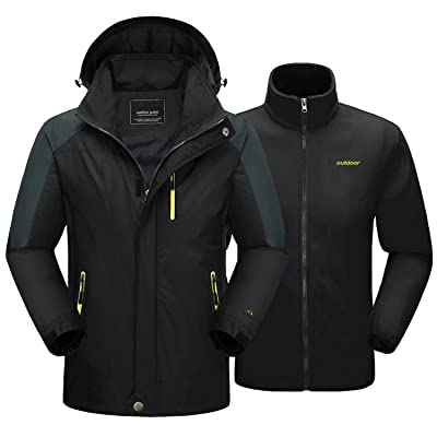 MAGCOMSEN Men's 3-in-1 Winter Ski Jacket with 6 Pockets Fleece Lining Detachable Hood Water Resistant Snowboard Jacket: Clothing