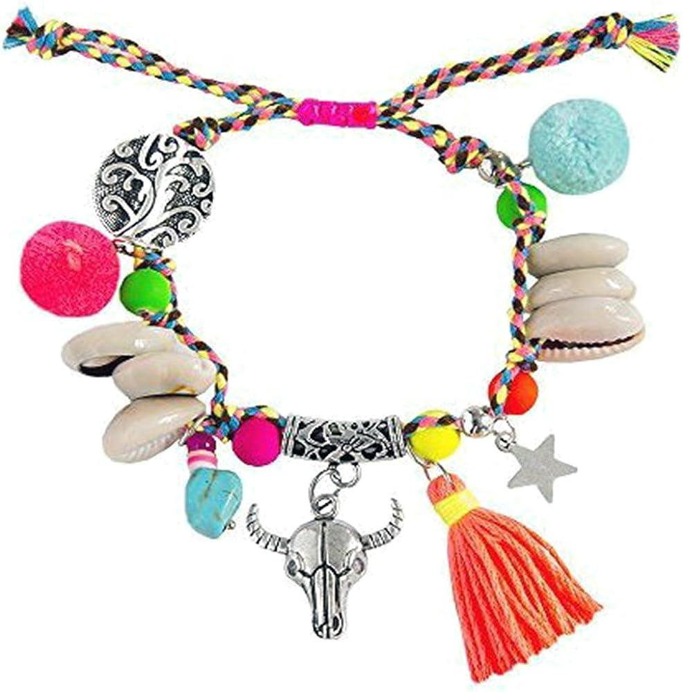 Kiss Me! Topmodel Ibiza Hippie Markt - Pulsera elástica hecha a mano, colgante de plata con conchas brillantes, plumas, conchas y perlas, varios colores
