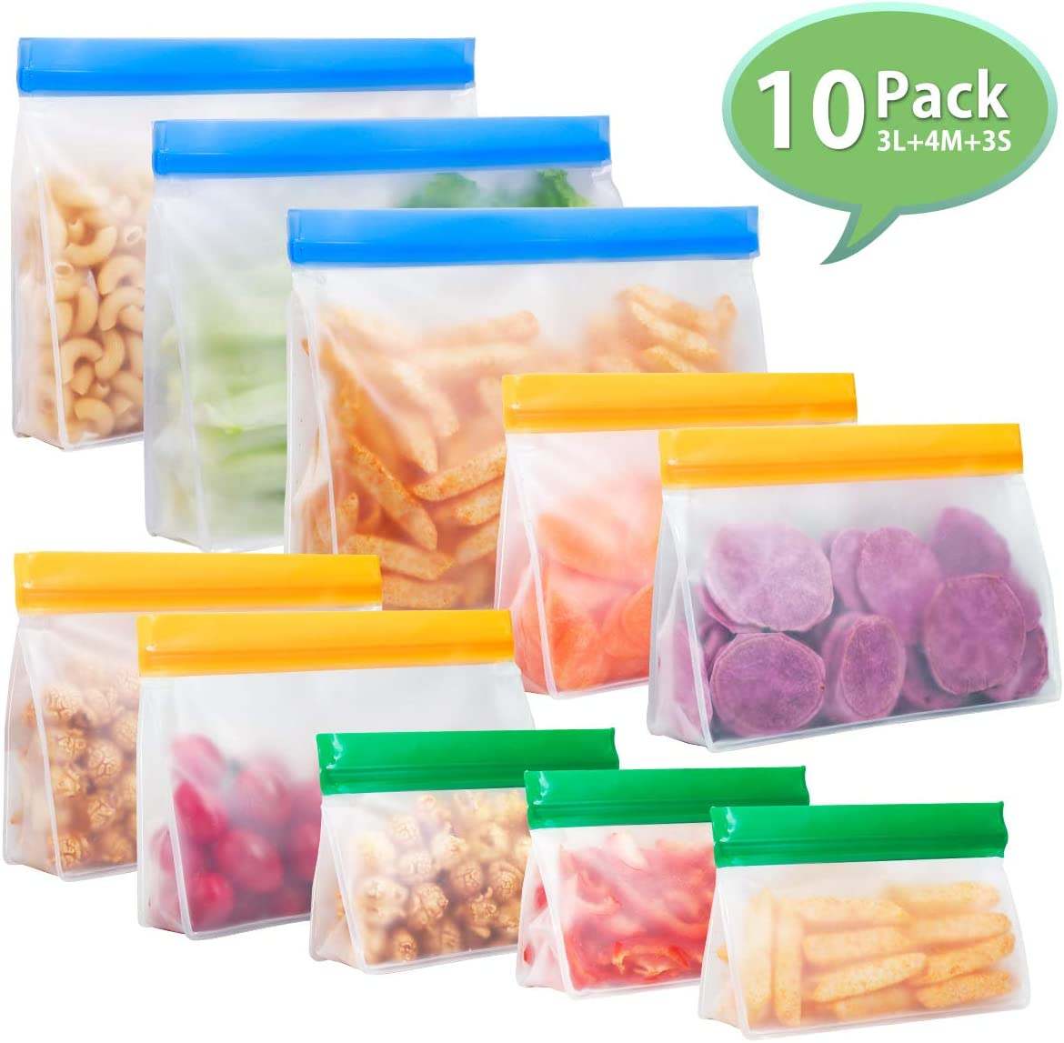 Reusable Sandwich Bags, Ziplock Bags, Godmorn Food Storage Bags, 10 Pack Leakproof Snack Bags, Extra Thick BPA-Free FDA Food Grade Big Capacity Stand-Up Organizer for Home Travel, Freezer Safe