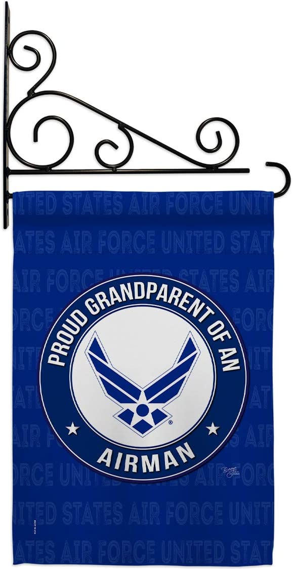 Breeze Decor Proud Grandparent Airman Garden Flag Set Wall Holder Armed Air Force USAF United State American Military Veteran Retire Official House Banner Small Yard Gift Double-Sided, Made in USA